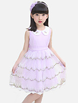 Girl's Casual/Daily Patchwork Dress,Cotton / Polyester Summer / Spring Pink / Purple / White
