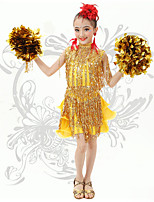 Latin Dance Children's Cute V Neck Performance Spandex Sequins / Tassel(s) Dresses
