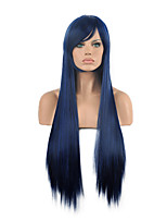 Hannah Anafeloz Navy Blue Cosplay Wig Long Straight Synthetic Wig.