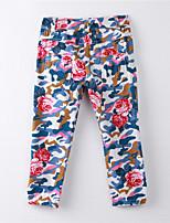 Girl's Print Pants,Cotton Summer Blue
