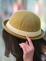 Pure Color Flax Straw Dome Curling British Jazz Sun Hat