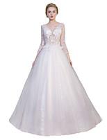 공주 웨딩 드레스 바닥 길이 V-넥 튤 와 레이스