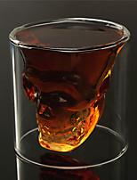 résistant à double paroi transparente créative tête de crâne effrayant nouveauté drinkware whisky tasse de vin vodka tir de verre de