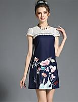 Summer Women's Vintage Retro Fashion Plus Size Lace Hollow Patchwork Print Dress