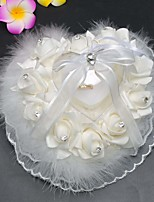 Lace Rose With Ostrich Decorative Border Ring Pillow Box