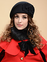 Women Tweed Cute Fashion Wool Beret Solid Color Flowers Hat