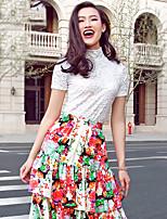 VERRAGEE® Women's Stand Short Sleeve Sweater & Cardigan White-V305
