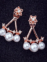 Flower Pearl Rhinestone Stud Earrings