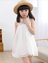 Girl's Print Dress,Rayon Summer Blue / Pink / White