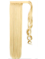 Flaxen Length 60CM The New Velcro Mixed Color Long Straight Air Wig Horsetail(Color 86/613)