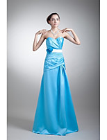 フォーマルイブニング ドレス Aライン スイートハート フロア丈 ストレッチサテン とともに フラワー / サッシュ/リボン / プリーツ