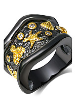 Irregular design Womens ring 18K Gold & Black Plated Party Cocktail Rings Cubic Zirconia Fashion Copper rings