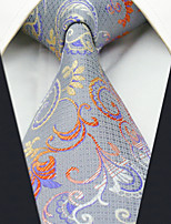 Men's 100% Silk  Tie Silver Floral Business Necktie