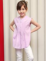 Girl's Blue / Pink Shirt,Patchwork Polyester Summer