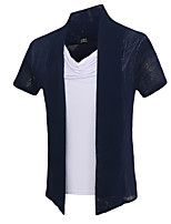 Men's Fashion Personality Fake Two Mesh Slim Fit Short Sleeve T-Shirt, Cotton /Polyester