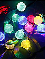 6M 30Led Crystal Ball String Light Solar Decoration Lights Waterproof Outdoor Garden Tree Fairy Lighting White Rgb