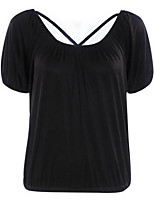 Women's Going out Simple Summer Blouse,Solid Round Neck Short Sleeve White / Black Polyester Thin
