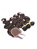Brazilian Body Wave With Closure 3Bundles Weaves Human Hair Weft With Closure Unprocessed Virgin Hair With Closure