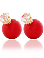 Zircon Double - sided Candy Colored Round Ball Earrings