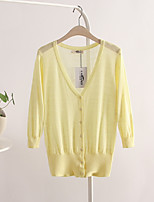 Women's Solid Blue / Pink / Green / Yellow Cardigan,Simple / Street chic ¾ Sleeve