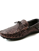 Men's Flats Spring / Fall Moccasin / Comfort PU Casual Flat Heel Others Black / Blue / Brown / Red Walking