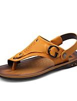 Zapatos de Hombre-Sandalias-Exterior / Casual-Cuero de Napa-Marrón
