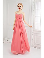 Formal Evening Dress A-line Sweetheart Floor-length Chiffon with Beading / Criss Cross