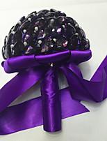 Ramos de Flores para Boda Ronda Rosas Ramos Boda Morado Satén / Abalorio / Cristal / Diamantes Sintéticos Aprox.23cm