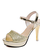 Damen-High Heels-Hochzeit Kleid Party & Festivität-Glanz-Plateau-Club-Schuhe-Gold Silber