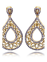 New Classic Hollow Designed Women Luxury drop earrings Premium Quality Cubic Zircon Setting Bridal Wedding Jewelry