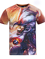 Men's Short Sleeve T-Shirt,Polyester Casual Print