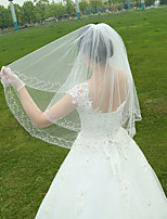 Bride Wedding Dress Veil One-tier Fingertip Veils Beaded Hand-beaded Edge