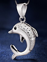 Time Limited Lovely Real 925 Silver Cute Dolphin Super Flash Pendant With Link Chain Women Necklace 2015 Fashion Trendy