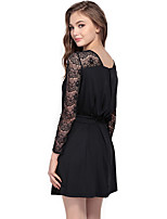 Haoduoyi® Women's Translucent Bateau Long Sleeve Above Knee Dress (Black)-15151F222