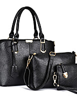 Women Bag Sets PU All Seasons Sports Casual Office & Career Shell Zipper Black Gold Blue
