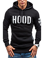 Men's Fashion Letter Print Hooded Hedging Slim Fit Sweatshirt,Cotton/Polyester/Casual