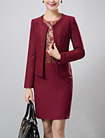 Women's Party/Cocktail / Plus Size Simple Sheath Dress,Jacquard Round Neck Above Knee Long Sleeve Red Polyester Fall