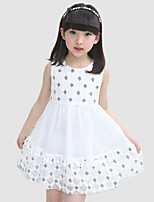 Girl's Casual/Daily Patchwork Dress,Cotton / Polyester All Seasons Black / Blue