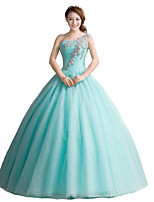 Formal Evening Dress-Sage Ball Gown One Shoulder Floor-length Organza / Stretch Satin