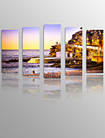 Coastal City Sundown on Canvas wood Framed 5 Panels Ready to hang for Living Decor