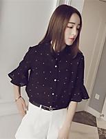 Women's Polka Dot White / Black T-shirt,Shirt Collar ½ Length Sleeve