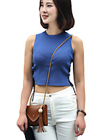 Women's Casual/Daily Sexy / Street chic Summer T-shirt,Solid Round Neck Sleeveless Blue / White / Black Cotton / Rayon Thin