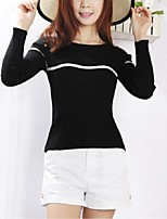 Women's Striped White / Black Pullover,Street chic Long Sleeve
