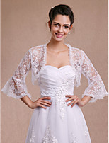 Women's Wrap Shrugs 3/4-Length Sleeve Lace Ivory Wedding / Party/Evening / Casual Lace Open Front
