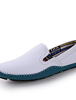 Men's Shoes Leather Casual Loafers Casual Flat Heel Slip-on Black / Blue / Brown / White