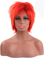 Fashionable Red Color Short Length Straight Cosplay Synthetic Wigs