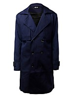 Men's Striped Casual Trench coat,Cotton Long Sleeve-Black / Blue / Purple