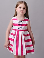 Girl's Striped Dress,Cotton / Rayon Summer / Spring / Fall Red