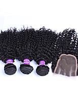 Malaysian virgin hair kinky curly lace closure with bundles 3PCS kinky curly lace closure with bundles