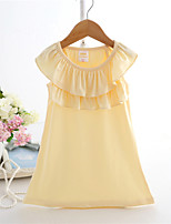 Girl's White / Yellow Dress,Solid Cotton Summer